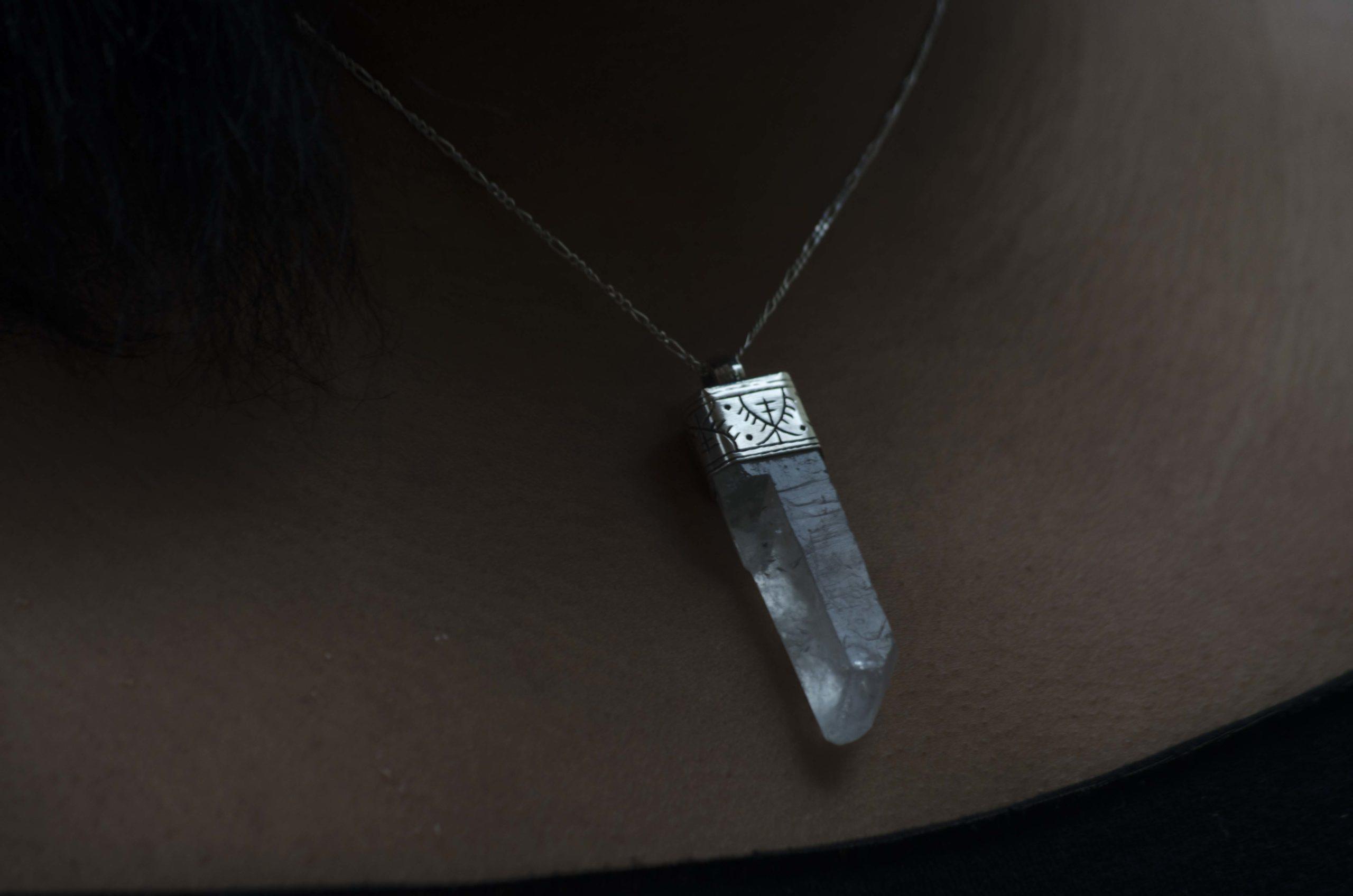 Sterling Silver Pendant Necklace in Raw Quartz